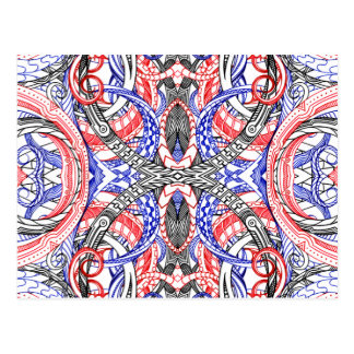 Hand Drawn Abstract Red White Blue Line Art Doodle Postcard
