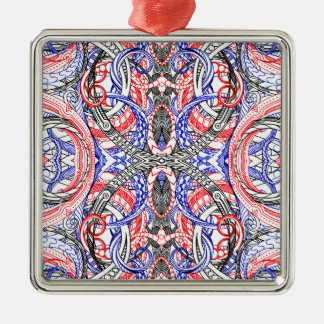 Hand Drawn Abstract Red White Blue Line Art Doodle Silver-Colored Square Ornament