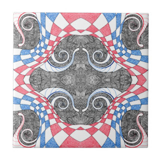 Hand Drawn Abstract Red White Blue Line Art Doodle Tile