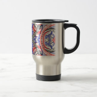 Hand Drawn Abstract Red White Blue Line Art Doodle Travel Mug