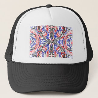Hand Drawn Abstract Red White Blue Line Art Doodle Trucker Hat