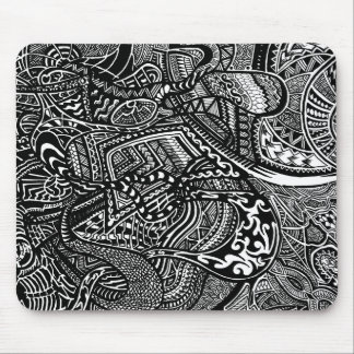 Hand-drawn Abstract Tribal Crazy Doodle Mouse Pad