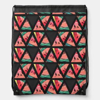 Hand Drawn Abstract Watermelon Pattern Drawstring Bag