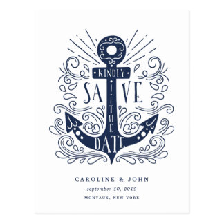 Hand Drawn Anchor Save the Date Postcard