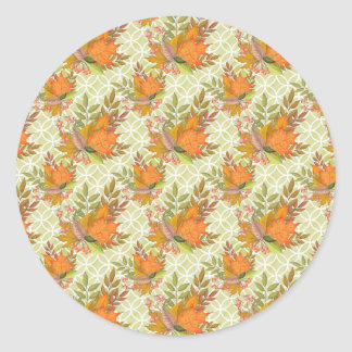 Hand Drawn Autumn Leaves Classic Round Sticker