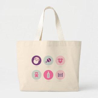 Hand-drawn Baby icons : Creative tshirts Shop Large Tote Bag