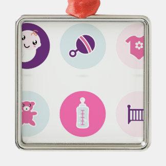 Hand-drawn Baby icons : Creative tshirts Shop Metal Ornament