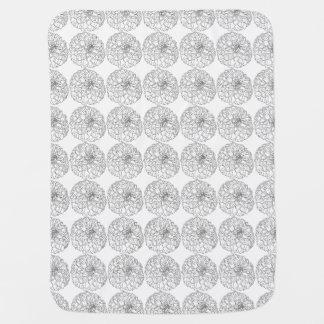 Hand Drawn Black and White Dahlia Flower Stroller Blanket