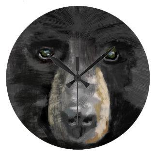 Hand drawn black bear image. large clock