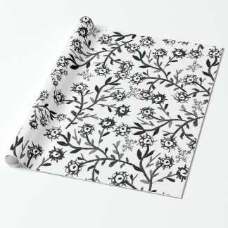 Hand drawn black white watercolor flowers wrapping paper