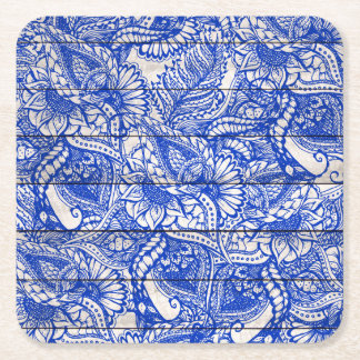 Hand drawn blue china floral mandala stripes wood square paper coaster