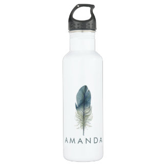 Hand drawn blue gray watercolor feather 710 ml water bottle