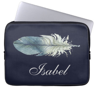 Hand drawn blue gray watercolor feather polka dots laptop sleeve