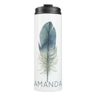 Hand drawn blue gray watercolor feather thermal tumbler