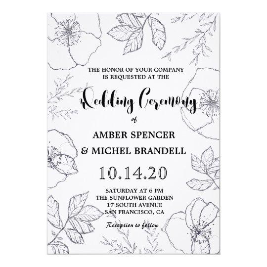 Hand-drawn Botanical Floral Frame Wedding Invites