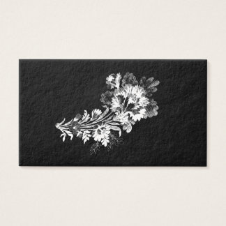 Hand drawn bouquet of flowers realistic black business card