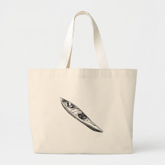 Hand Drawn Canoe Large Tote Bag