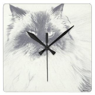 Hand Drawn Cat Round Clock