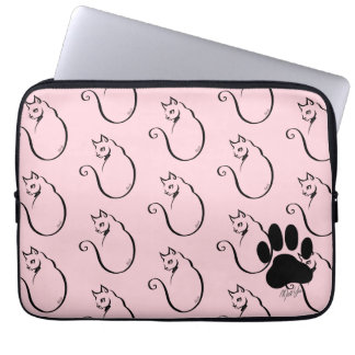 "Hand Drawn Cat Water Resistant 13"" Laptop Sleeve"