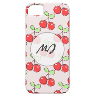 Hand Drawn Cherries, Pink Fruit Pattern iPhone 5 Covers