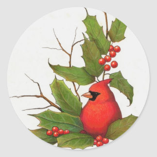 Hand-Drawn Christmas Illustration: Holly, Cardinal Classic Round Sticker