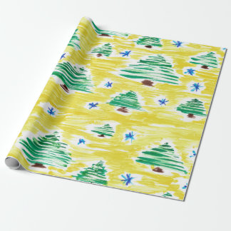 Hand drawn Christmas tree pattern Wrapping Paper