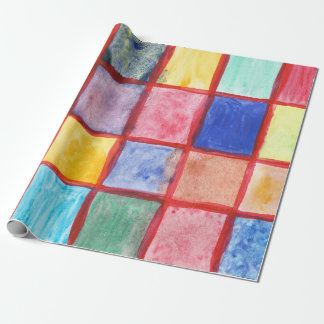 Hand drawn Christmas watercolor squares Wrapping Paper