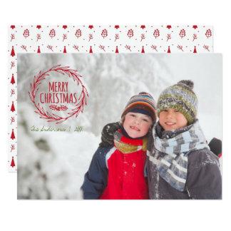 Hand Drawn Christmas Wreath Holiday Photo Card