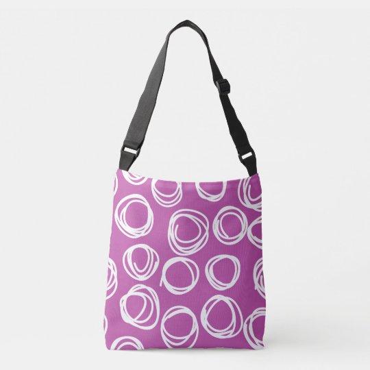 Hand Drawn Circles on PLum Crossbody Bag