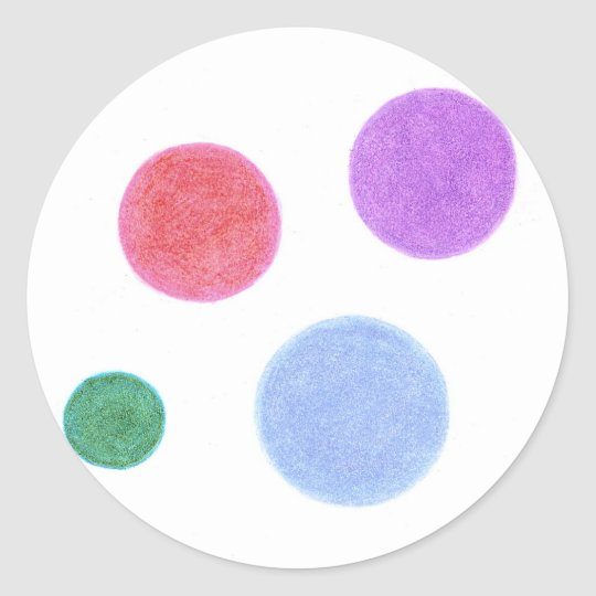 Hand-drawn Colour Dots Classic Round Sticker
