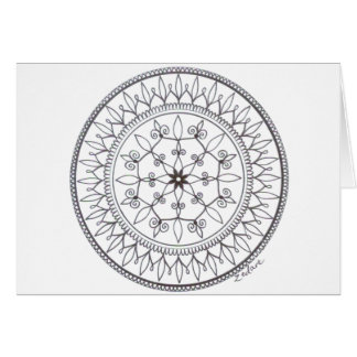 Hand Drawn Colour In Mandala Design Card