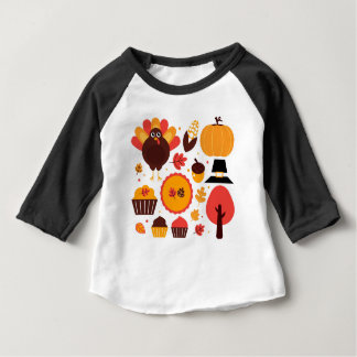 Hand drawn creative Autumn Icons Baby T-Shirt