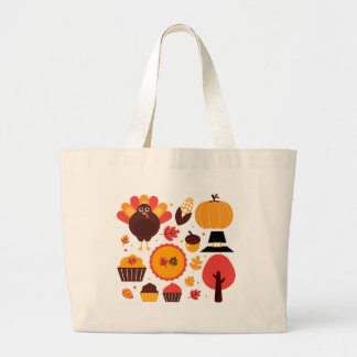 Hand drawn creative Autumn Icons Large Tote Bag