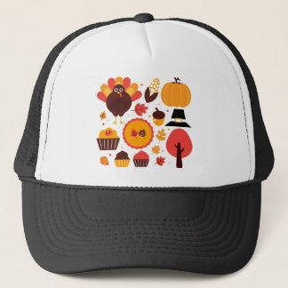 Hand drawn creative Autumn Icons Trucker Hat