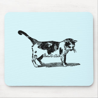 Hand Drawn Cute Cat Kitten Drawing Mouse Pad