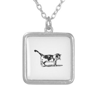 Hand Drawn Cute Cat Kitten Drawing Silver Plated Necklace