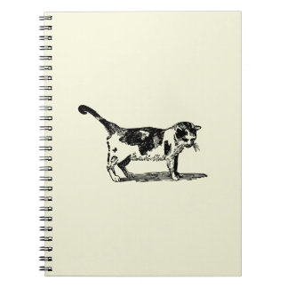 Hand Drawn Cute Cat Kitten Drawing Spiral Note Books