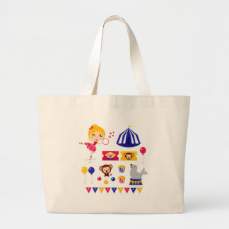 Hand drawn cute Circus edition : Ballerina stuff Large Tote Bag