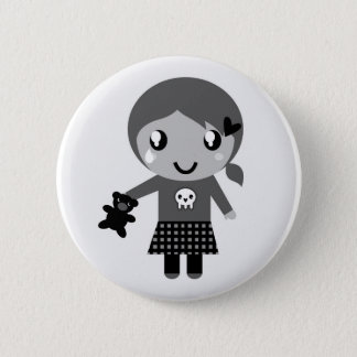 Hand drawn cute Girl with bear 2 Inch Round Button