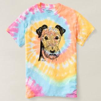 Hand Drawn Cute Terrier Dog Art Tie Dye T-shirt