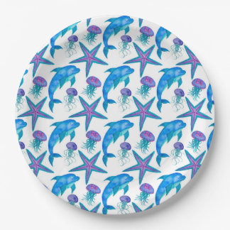 Hand Drawn Dolphins Pattern Paper Plate