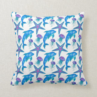 Hand Drawn Dolphins Pattern Throw Pillow
