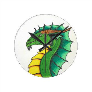 Hand drawn Dragon Round Clock