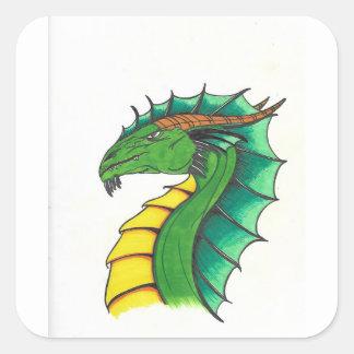 Hand drawn Dragon Square Sticker