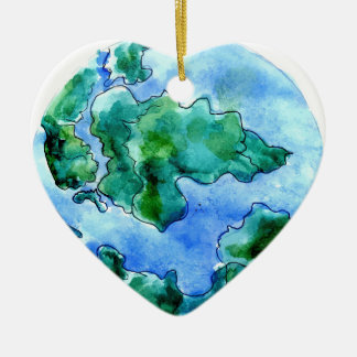 Hand Drawn Earth 2 Ceramic Ornament