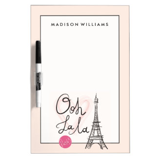 Hand Drawn Eiffel Tower Dry Erase Board