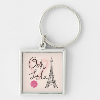 Hand Drawn Eiffel Tower Silver-Colored Square Keychain