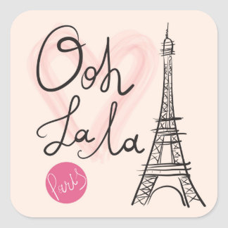 Hand Drawn Eiffel Tower Square Sticker