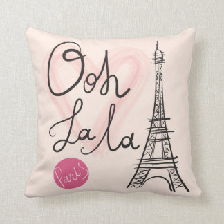 Hand Drawn Eiffel Tower Throw Pillow