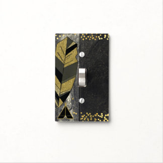 Hand Drawn Feather & Tepee Gold Black Boho Glam Light Switch Cover